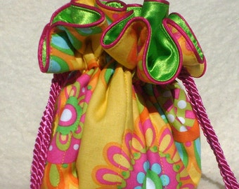 Summer Dreams Jewelry Pouch, Jewelry bag Travel Organizer, Bag, in yellow and green