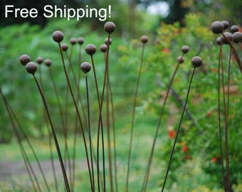"Kinetic Metal Garden Art Sculpture Grouping of 7 -1""balls-The Original-Ball Weeds- Flower Pods"
