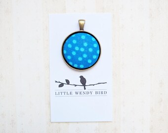 Blue Polka Dot Fabric Covered Button Pendant