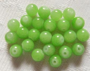24  Apple Green Opaque Round Ball Glass Beads  8mm