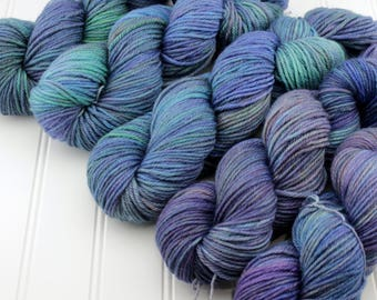 Plush Worsted, 4 oz - Singer Songwriter - 100% superwash merino hand dyed, resist dyed yarn