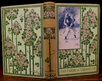 Decorative Designers beautiful floral Victorian antique book. Daudet--French literature. Green & pink flowers, publishers binding vintage