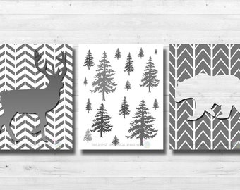 woodland nursery printable,white and gray crib bedding, deer ,bear downloadable prints,  instant download, woodland animals digital file
