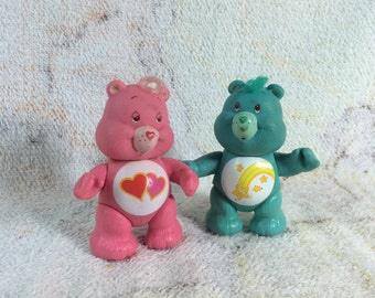 Pair of 1983 PVC Posable Care Bear Figures - Wish Bear and Love a Lot Bear