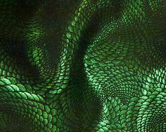 "Leather 20""x20"" Chinese Dragon EMERALD Green Metallic On Black Cowhide 3-3.5 oz / 1.2-1.4 mm - PeggySueAlso™ Full hides available"