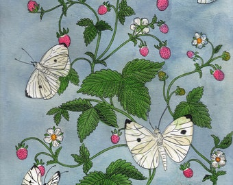 Cabbage Butterflies and Wild Strawberries Original Painting
