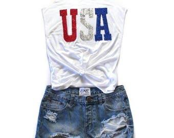 4th of July Shirt Tank. SEQUIN July 4th Tank . USA American Flag Shirt Tank. Patriotic. America.  Red White Blue. July 4thTank. American