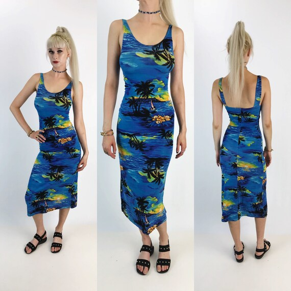 90's Tropical Paradise Print Midi Bodycon Summer Dress Small - Hawaiian Beach Print Tight Fitting Luau Summer Beach Party Dress Blue Black