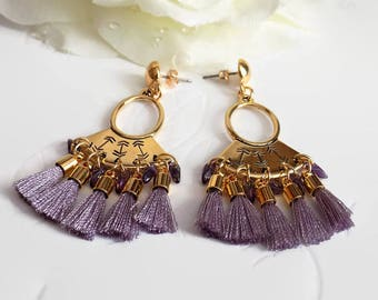 Boho Lavender and  Gold Tassel Earrings Purple Tribal Fringe Earrings Ethnic Earrings Statement Jewelry Gift for Her Mother's Day Gift Wrap