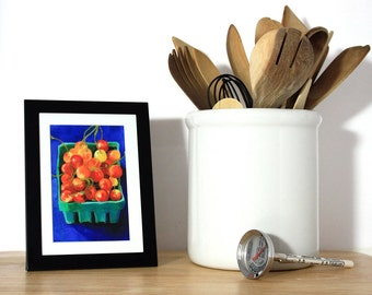 Framed Sour Pie Cherries Mini giclee print. Local food. Farmers market. Art from original oil painting. Teal, royal blue, orange and red.