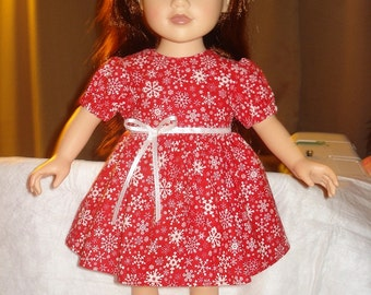 Holiday dress with red and white snowflake print for 18 inch Dolls - ag126