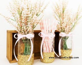 Baby Shower Centerpiece, Bridal Shower Decorations, Baby Shower Decorations, Wedding Centerpieces, Pink and Gold Decor, Glitter Jars 3