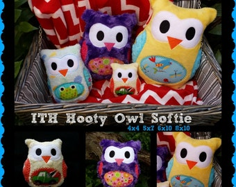 hooty the owl softie - Embroidery Design - 4x4 5x7 6x10 8x10 instant download