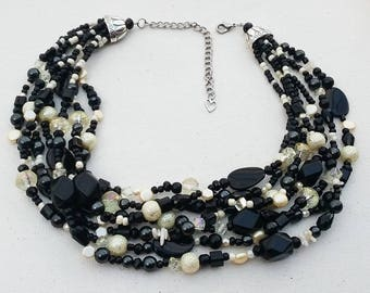Black and yellow statement necklace, multi strand, chunky, pearl and crystal