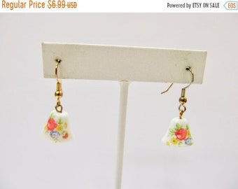 On Sale Vintage Floral Glass Bell Earrings Item K # 1669
