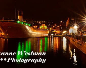 Lake Superior photography//Duluth harbor//night in Duluth//Lake Superior art
