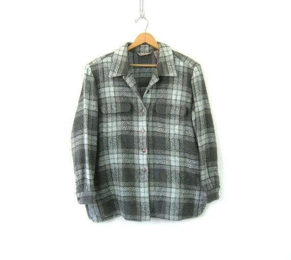 Blue & Gray 90s Shirt Jacket Plaid Flannel Blanket Coat Button Up Spring Jacket Pocket Oxford Women's Size XL 16