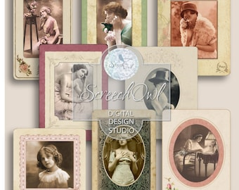 Journal Ephemera, Collage Sheet, Scrapbooking, Digital Photo Frames, Vintage Cabinet Cards, Paper Craft Supplies
