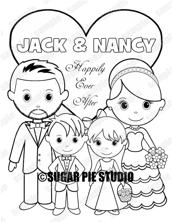 Personalisierte Kinder Hochzeit Färbung Aktivität Buch