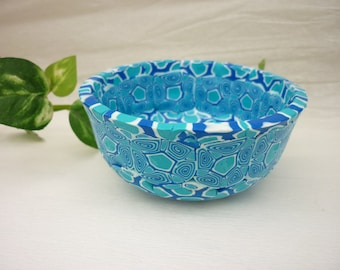 handmade bowl, cup, polymer clay, unic piece , turquise, blue and white
