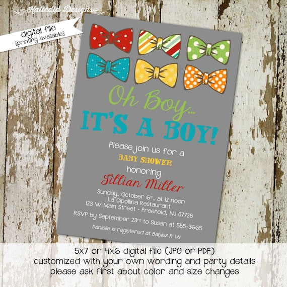little man bow tie baby shower boy oh boy baptism birthday diaper wipe brunch diapers for dad aqua gray invitation gay 1207 Katiedid Designs