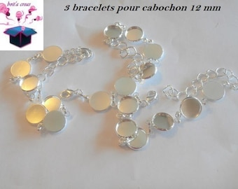 3 silver bracelets for 6 cabochons 12 mm x 16 cm more chain 7 cm
