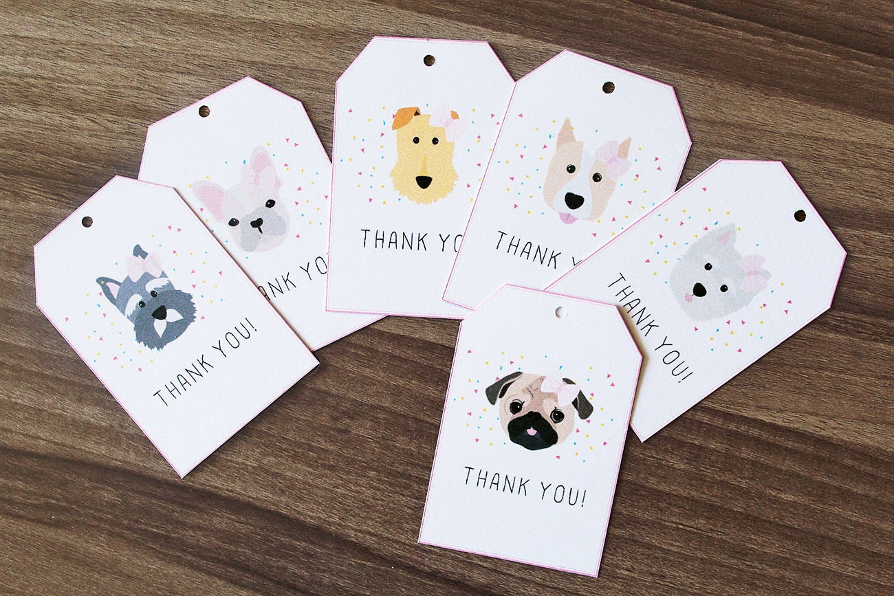 Set of 12 Thank You Gift Tags, Dog Thank You Tags, Dog Themed Thank ...