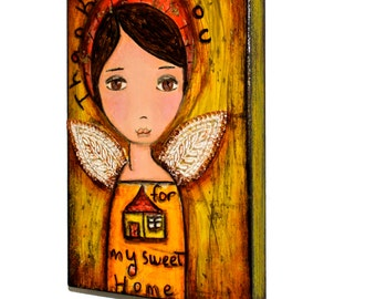 Thank you For my Sweet Home - ACEO Print mounted on wood block by FLOR LARIOS (2.5 x 3.5 inches)