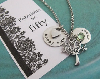 50th Birthday Gift For Women-50th Birthday Gift For Her-Tree Of Life Birthstone Necklace-Gift For Wife-Gift For Mother-Gift For Best Friend