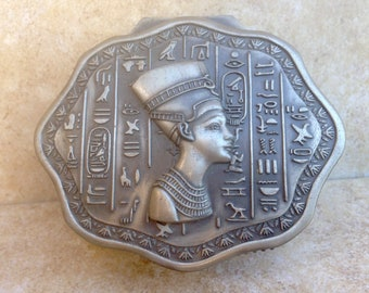 Egyptian Vintage Silver Toned Trinket Footed Box with Royal Blue Lining