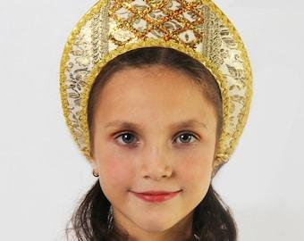 Russian traditional hat silk Kokoshnik, Russian crown, Tiara, Girl head-dress, Woman head-dress, Russian headwear