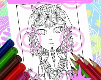 Anime Doodle Girl Coloring Page for Adult Coloring Saytar goat girl in Tangle style