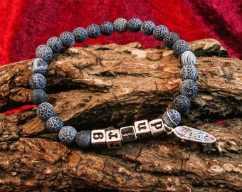 Silver Skateboard & Lava Stone Bracelet
