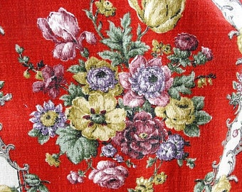 DECORATIVE Vintage Barkcloth Textile Lush Flowers Chic French Country, Romantic Cottage, Farmhouse Decor,Upholstery,Drapery,Vintage Textiles