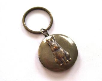 Easter Locket, Rustic Bunny Locket Keychain, Antiqued Brass Rabbit Locket Key Chain, Round Dark Brass Locket, Easter Rabbit Locket