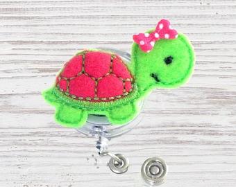 Turtle Nurse Badge Reel | Felt Badge Reel | Turtle Paper Clip | Nurse Badge Clip | Retractable Badge Reel | Nurse ID Badge | Nurse Gift