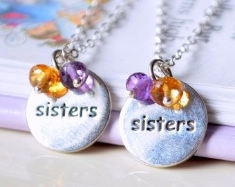 Sisters Necklaces, Sterling Silver, Set of Two, Genuine Gemstone, Custom Made Birthstone Jewelry for Girls