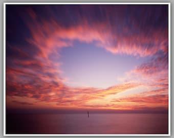 Beach Photo, Pinhole Photo - Open Sky - Art - Photography - Firey Red Color - Pinhole Photograph
