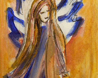 Angel Painting, Original Acrylic  Painting, Guardian Angel, Small Paintings, Angel Art, Spiritual art