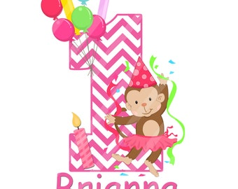 Little Monkey First Birthday Large Digital Download for iron-ons, heat transfer, Scrapbooking, Cards, Signs, DIY, You Print