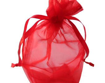 12cm x 9cm - 5 red Organza pouches