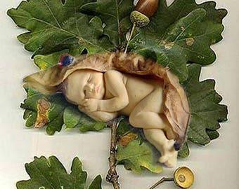 The Lullabye - Sleeping Baby  Fairy Figurine .