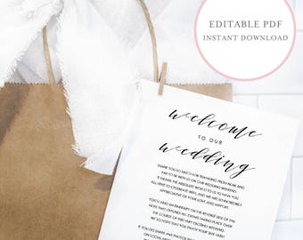 Wedding Welcome Note. Wedding Weekend Itinerary.  Printable Wedding Itinerary. Wedding Welcome Bag Note. Wedding Itinerary Template. (SH)