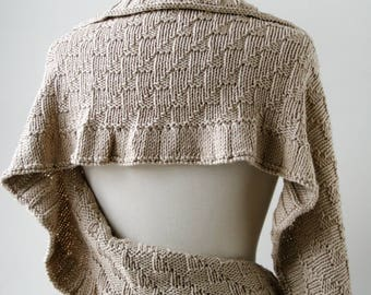 Rococo Hand Knit Shawl in PALE GOLD, Luxurious Cotton and Silk Wrap, Women's, Scarf, Wedding, Ruffle, Bride, Natural, Made in USA
