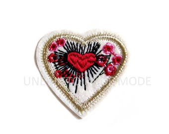 Patch Thermo heart to sew or iron 50 x 50 mm - applique heart