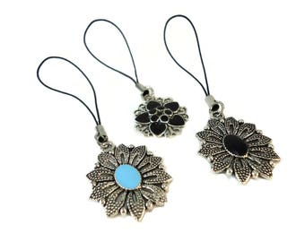 Ladies Grey Flower Purse Charm Metal, Enamel Charms for Bags and Purses, Silver Metal Zipper Pull Charm Black or Blue Flower Backpack Charm