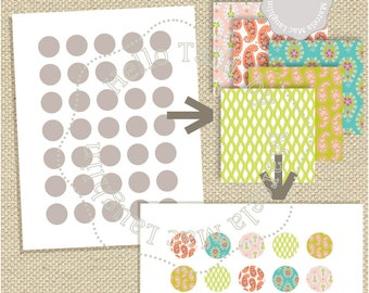 1 inch circle Photoshop Template + PNG + JPG- Bottle caps template PSD fully layered Collage Sheet Round Jewelry Scrapbook Elements overlay