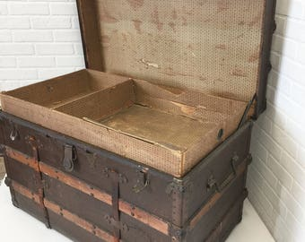 Antique Flat Top Steamer Trunk with Tray, Wood Slats, Vintage Repurposed Trunk Coffee Table
