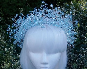 Mermaid Tears Crown, mermaid crown, fairy crown, crystal circlet, blue crystals, circlet, headpiece, costume
