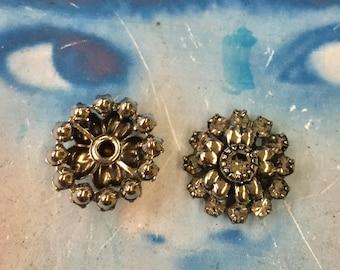 Vintage Rhinestone Flower Button Centers Gunmetal Finish  7247VIN x2